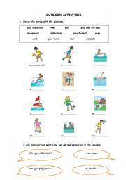 English Worksheet: outdoor activities-Can