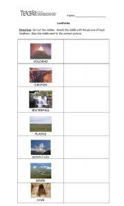 English Worksheet: Riddle Landforms