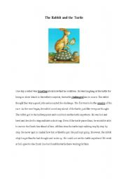 English Worksheets: the rabbit and the turttle