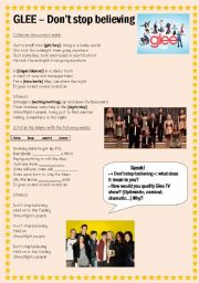 English Worksheet: Glee - Don�t stop believing