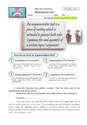 English Worksheets: Argumentative Text (info+exercises)