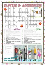 English Worksheet: Clothes & Accessories part 3 (crossword)