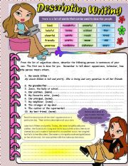 Descriptive Writing - Editable - * Answer Key Included * four tasks *editable