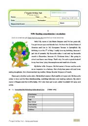 English Worksheet: Family Test (7th grade) + correction