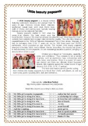 English Worksheet: LITTLE BEAUTY PAGEANTS  (Text and video activity)
