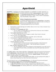 Apartheid comprehension - ESL worksheet by majdiryklief