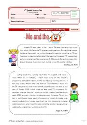 English Worksheet: TV test (7th grade) + correction VERSION A