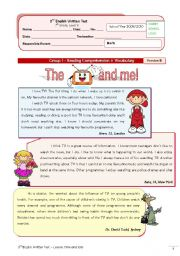 English Worksheet: TV test (7th grade) + correction VERSION B
