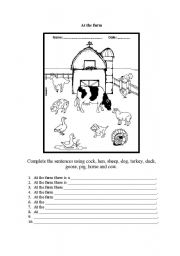 English Worksheets: Complete the sentences with animal farms