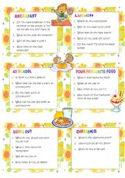English worksheet: Questions: EATING AND DRINKING HABITS **conversation cards ** set 3: ideal for oral tests or to practise in pairs