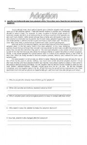 English Worksheet: Adoption - Reading Comprehension