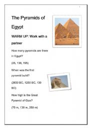 English Worksheet: The Pyramids of Egypt