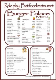 English Worksheet: Fast food restaurant - Role play