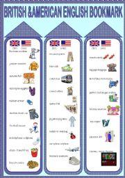 English Worksheet: British and American English Bookmarks
