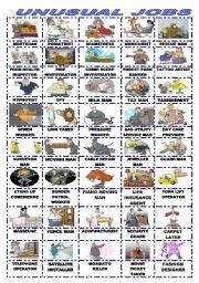 English Worksheets: UNUSUAL JOBS/PICTIONARY