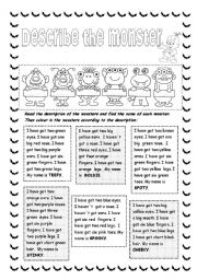 English Worksheet: Describe the monster