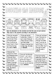 English Worksheet: Describe the monster