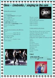 English Worksheet: Umbrella/Singing in the rain by GLEE Cast