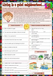 English Worksheet: Living in a quiet neighbourhood...