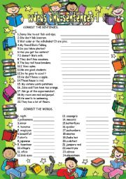 English Worksheets: words and sentences 1