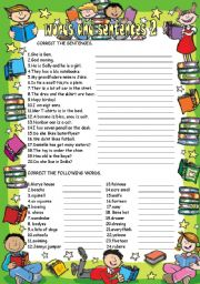 English Worksheets: words and sentences 2