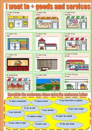 English Worksheet: I went+ goods and services