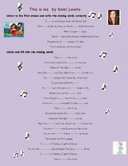 English Worksheet: Song: This is me by Demi Lovato