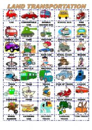 English Worksheets: LAND TRANSPORTATION/PICTIONARY