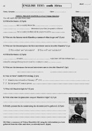 English Worksheet: VIDEO Nelson Mandela - Oral Comprehension
