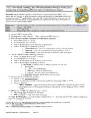 English Worksheets: TBL (Task-Based Learning) and PPP (Presentation-Practice-Production)