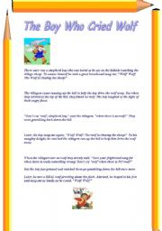 English Worksheets: THO BOY WHO CRIED WOLF
