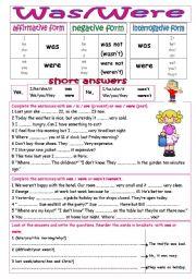 English Worksheet: Was/were