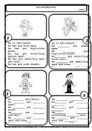 English Worksheets: FACE DESCRIPTION-BOYS - 1