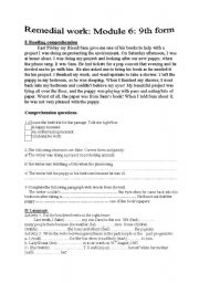 English Worksheets: Module 6: Remedial work (9th formers)