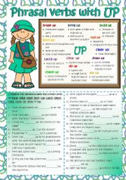 English Worksheet: Phrasal verbs with UP (B&W + KEY included)
