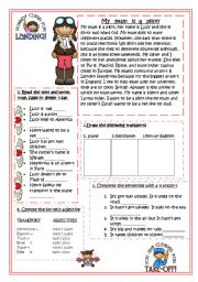 English Worksheets: MY MUM IS A PILOT