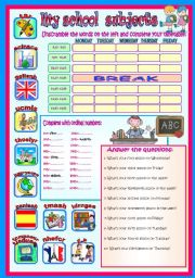 English Worksheet: MY SCHOOL SUBJECTS(+days of the week, +ordinal numbers, +crossword puzzle)