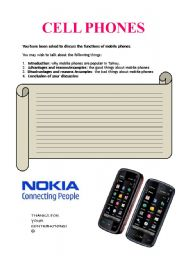 English Worksheets: cell phones writing activity