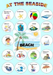 English Worksheet: AT THE SEASIDE 1 -PICTIONARY IN COLOUR