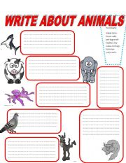 English Worksheets: WRITE ABOUT ANIMALS