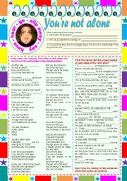 English worksheet: Songs4Class: You're not alone – Michael Jackson  • comprehension, listening and grammar tasks  • past simple vs. present perfect  • 2 pages  • keys included  • editable