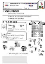 English Worksheet: TEST 3RD GRADE