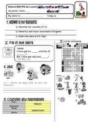 English Worksheet: TEST 4TH GRADE