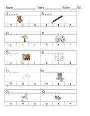 English Worksheet: Beginning Sounds Test