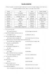 English Worksheets: False Cognate Words