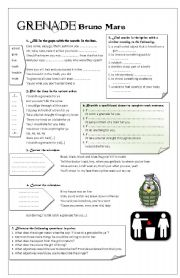English Worksheet: Grenade by Bruno Mars