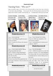 English Worksheet: Famous people  in the world --Gussing game