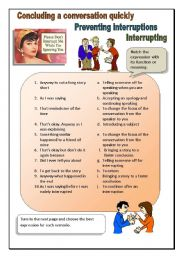 English Worksheet: Interrupting, cutting a story short, preventing interruptions.