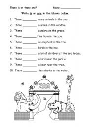 English Worksheets: There is or are at the zoo.