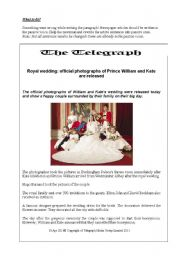 English Worksheet: prince william and Kate Middleton�s wedding ceremony